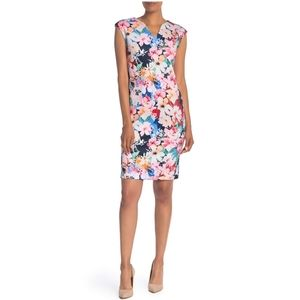 T Tahari NWT Multicolor Floral V-Neck Scuba Dress